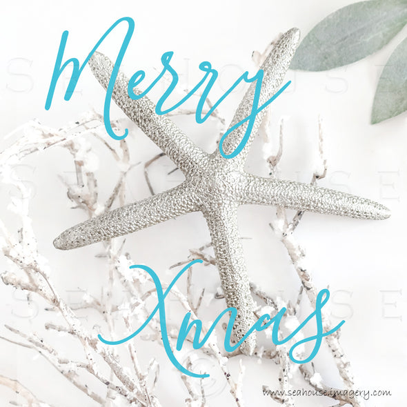 WM EXCLUSIVE USE Merry Xmas Starfish Big Snow Twig Touch of Greenery Blue Text 1426 Square Size