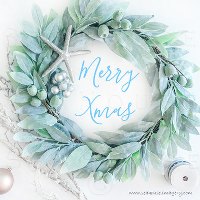 WM Merry Xmas Wreath Greenery Twig Baubles Starfish Ribbon Blue Text Inside 1286 Square Size