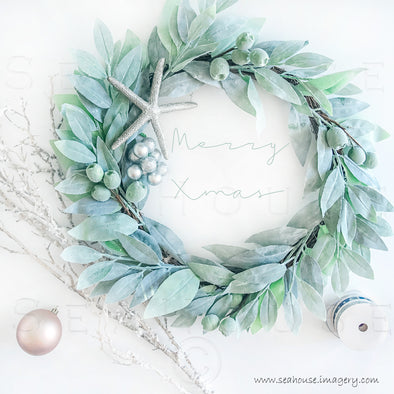 WM Merry Xmas Wreath Greenery Twig Baubles Starfish Ribbon Green Elegant Text 1286 Square Size