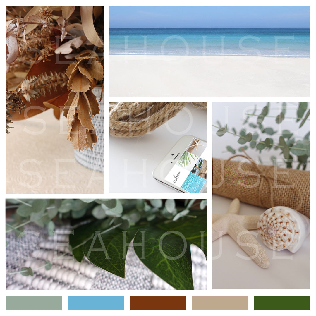 Mood Board Coastal Autumn Tones Square Size