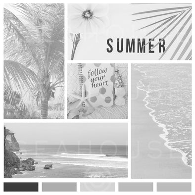 WM Mood Board Coastal B&W Summer Vibes Square Size