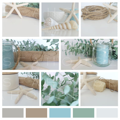 WM Mood Board Coastal Hessian Gum 10 Square Size
