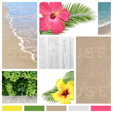 WM Mood Board Coastal Tropical Hibiscus 13 Square Size