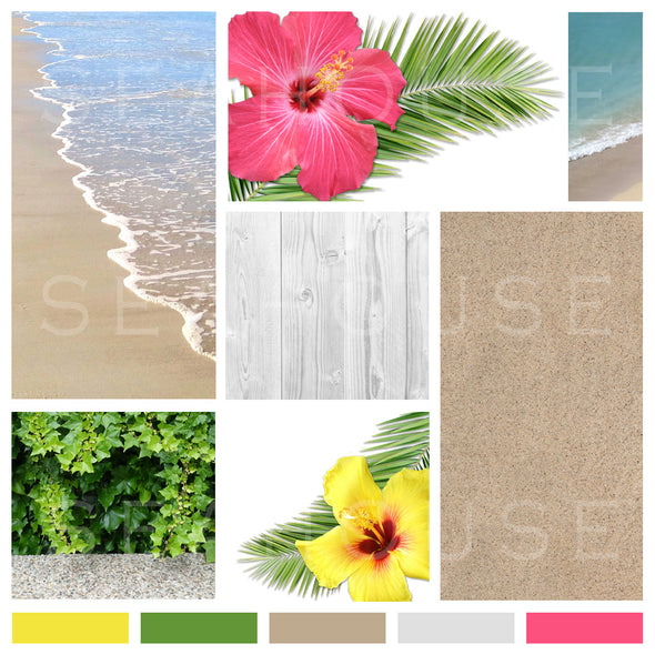 WM EXCLUSIVE USE Mood Board Coastal Tropical Hibiscus 13 Square Size
