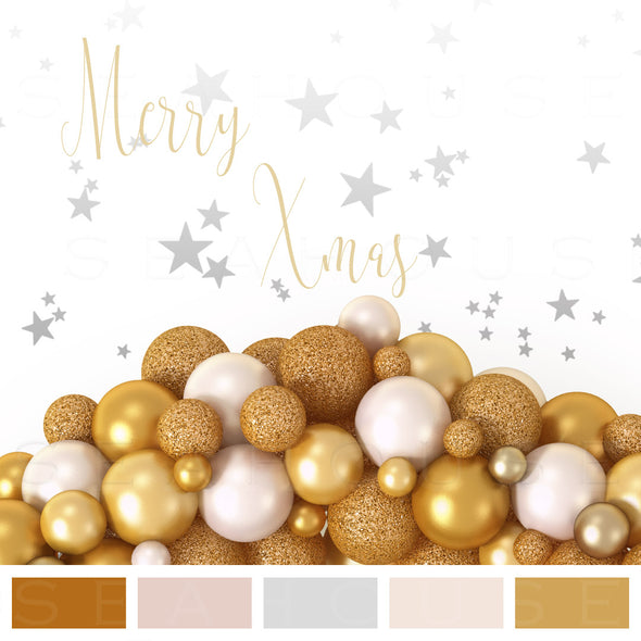 WM EXCLUSIVE USE Mood Board Merry Xmas Coastal Gold Blush Balls Silver Stars Gold Text Square Size