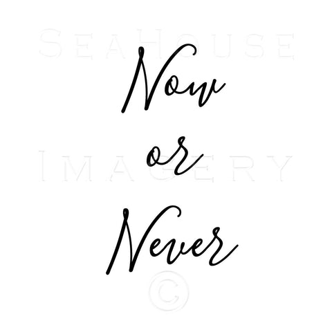 WM Now or Never Black Elegant Text Square Size
