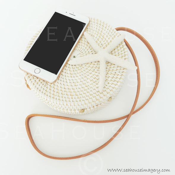 WM EXCLUSIVE USE Rose Gold Phone On Boho Bag With Strap Starfish 9530 Square Size