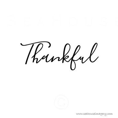 WM Thankful Black Elegant Text Square Size