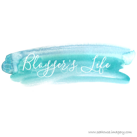 WM Blogger's Life White Text Blue Watercolour Splash Square Size