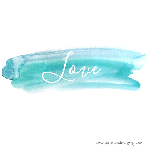 WM Love White Text Blue Watercolour Splash Square Size