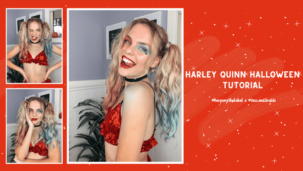 Harley Quinn Halloween Tutorial with Our Honey @sass.and.braids | Her Pony | Look I