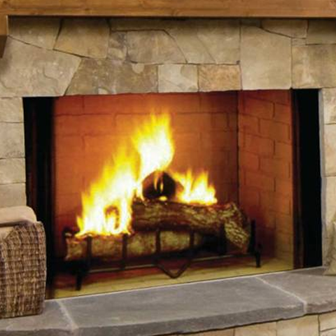 "Majestic 50"" Biltmore Wood Burning Fireplace - Chimney Cricket"