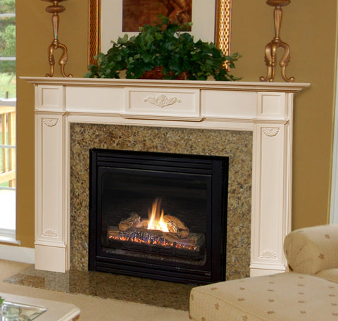 "Mantels - 530 MONTICELLO - White Paint (48"" or 56"") - Chimney Cricket"
