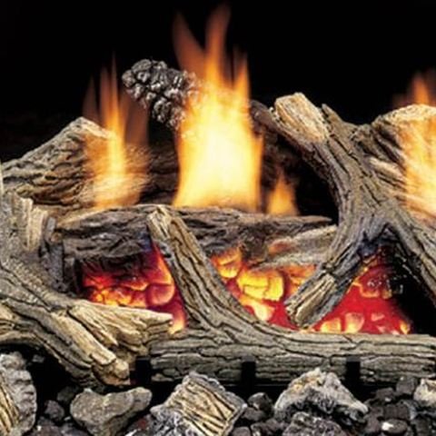 Aged Hickory Vent Free Gas Log Set - Chimney Cricket