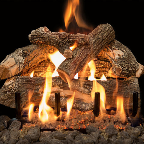 Arizona Weathered Oak Gas Logs with 3 Burner - Chimney Cricket