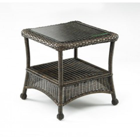 Balsam Collection Resin Wicker Glass Top End Table