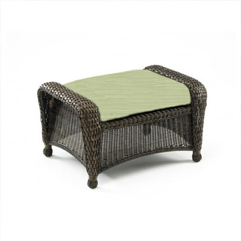 Balsam Collection Resin Wicker Ottoman - Dupione Aloe