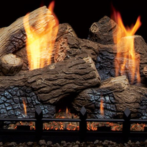Berkley Oak Ceramic Fiber Vent Free Gas Log Set - Chimney Cricket