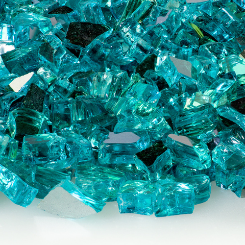 "1/4"" Caribbean Blue Reflective Fire Glass - 10 lbs. - Chimney Cricket"