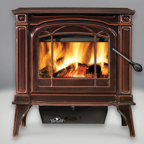 Cast Iron 1400 Banff Wood Burning Stove – Porcelain Enamel Majolica Brown