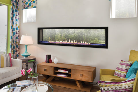 "Ventless Gas Fireplace - Empire Boulevard 60"" Linear See-Through Fireplace - Chimney Cricket"