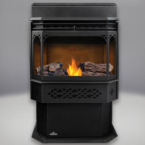 Eco Pellet Stove: Sandstone Brick Panels, PHAZER® Logs, Black Door and Trivet, Hopper Extension - Chimney Cricket
