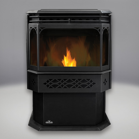 Eco Pellet Stove: MIRRO-FLAME™ Porcelain Reflective Radiant Panels, Black Door and Trivet - Chimney Cricket