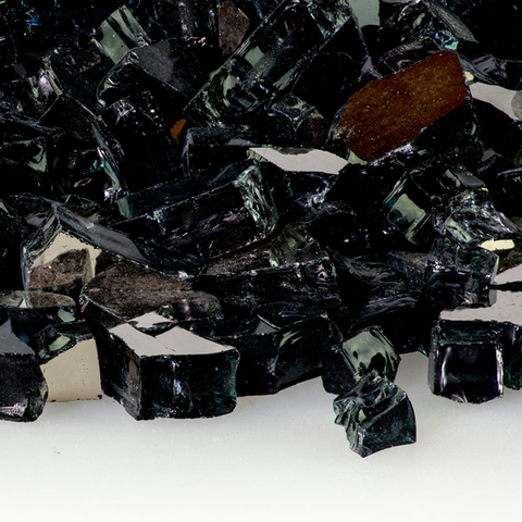 "1/2"" Midnight Black Reflective Fire Glass - 10 lbs. - Chimney Cricket"