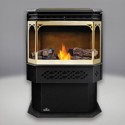 Eco Pellet Stove: Sandstone Brick Panels, PHAZER® Logs, Gold Door and Trivet - Chimney Cricket