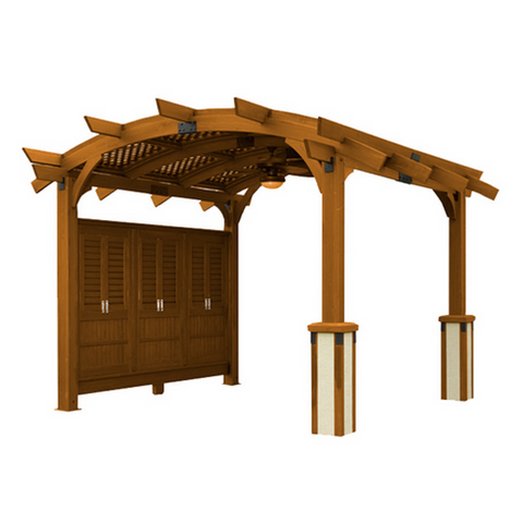 Sonoma Arched Pergola - 12x12 - Redwood - Chimney Cricket
