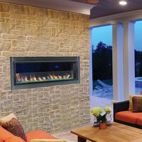 Superior VRE4543 Linear Gas Outdoor Fireplace - Chimney Cricket