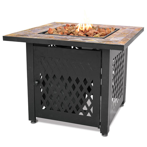LP Gas Outdoor Fire Pit with Slate Tile Mantel - Chimney Cricket