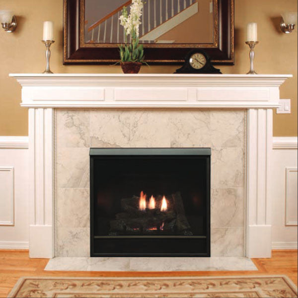 White Mountain Hearth Tahoe direct-vent fireplaces draw in fresh outside air to support combustion and exhaust combustion by-products to the outdoors. The Tahoe's vent-within-a-vent isolates the incoming fresh air from the exhaust