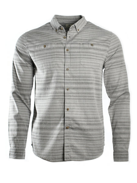 Long sleeve button-up shirt in grey from California designer Astrneme (Astronomy) offered by Whiskey Ginger. Front view.