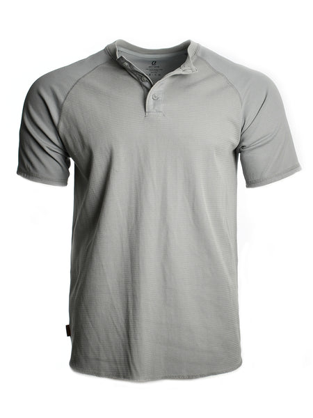 Short sleeve henley from California designer Astrneme (Astronomy) offered by Whiskey Ginger. Tin grey cotton blend fabric. Front view.