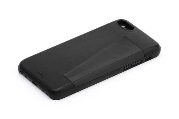 Premium vegetable tanned leather iPhone 7 case in black from Australian designer Bellroy, offered by Whiskey Ginger. 3 card slot with magnetic closure. View is of back of case, leather side.