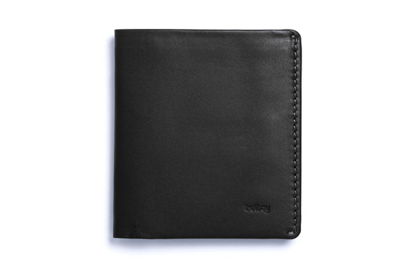 Premium vegetable tanned leather Note Sleeve wallet from Australian designer Bellroy, offered by Whiskey Ginger. Black leather. Front view of wallet.