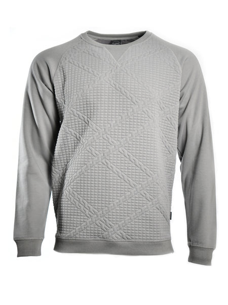Crew neck quilted sweatshirt from Danish designer Jack & Jones, offered by Whiskey Ginger. Griffin grey polyester blend fabric. Front view of sweatshirt.