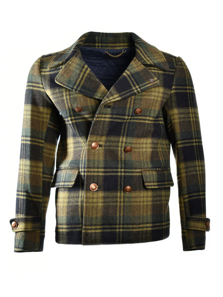 Tartan peacoat from Dutch designer Scotch & Soda, offered by Whiskey Ginger. Hunter green with argyle design in fabric. Wool blend shell. Front view of peacoat, worn.