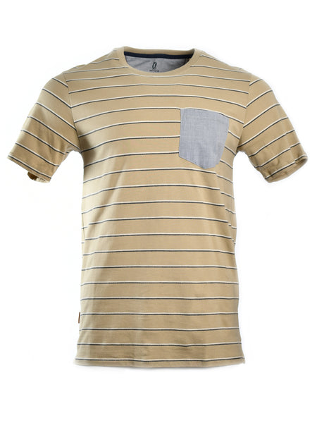 Short sleeve T-Shirt from California designer Astrnemē (Astronomy), offered by Whiskey Ginger. Canvas beige fabric with black and white line woven details. Light blue pocket over left chest. Front view, worn.
