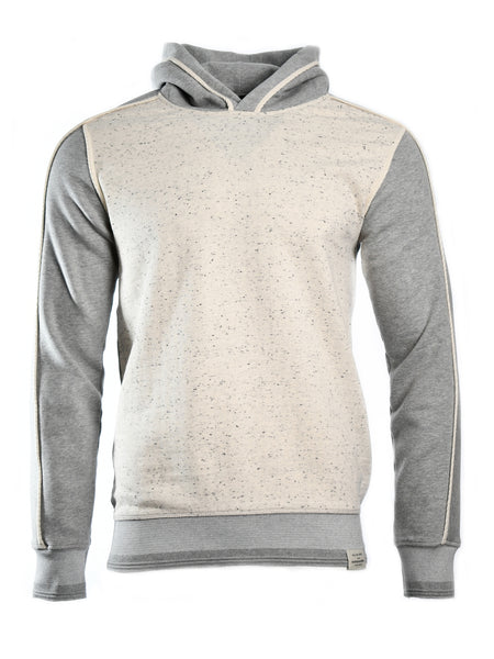 Long sleeve hoodie from Dutch designer Scotch & Soda, offered by Whiskey Ginger. Contrasting front panel in off-white melange. Grey sleeves, back and hood. Front view, worn.