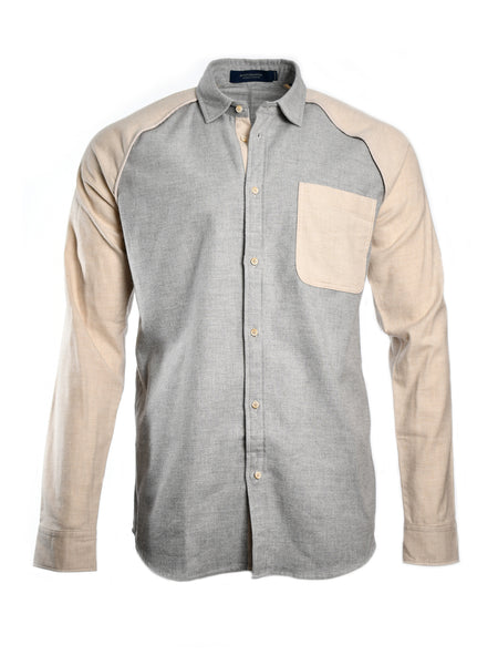 Long sleeve brushed cotton shirt from Dutch designer Scotch & Soda, offered by Whiskey Ginger. Light grey front and collar with contrasting arms and chest pocket. Front view, worn.