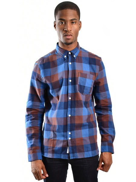 Long sleeve button-up flannel shirt titled