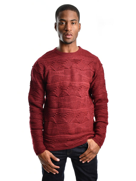 Jacquard jumper / sweater in port wine red from British designer Bellfield, offered by Whiskey Ginger. Unique three dimensional weave pattern. Ribbed crewneck, hem and sleeve openings. Front view of sweater, worn by a male model.