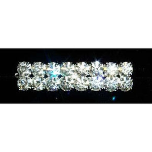 "New Ponytail Clip Barrette with 2 rows Jumbo 8 rhinestones per row. 2.5"" long."