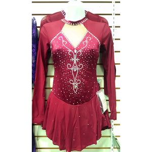 New Competition Figure Skating Dress Burgundy Mesh Lycra 100's SU300 Aurora Borealis Crystals