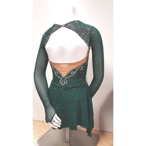 Competition Figure Skating Dress Irish Green Merida 100's AB Crystals SU211