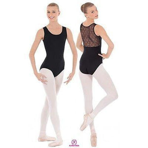 NEW DANCE BODYSUIT LEOTARD Eurotard BLACK Microfiber Diamond Mesh Adult Large