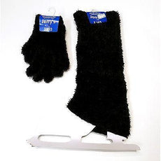 Nové krasobruslení Fuzzy Leg Warmers & Gloves Set Black One Size Youth