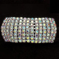 Ponytail Holder Ponies Crystals AB  8 rows with 15 rhinestones per row.